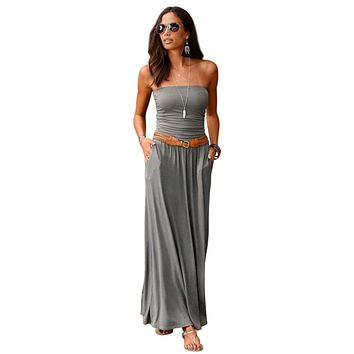 Gray Strapless Bodice Empire Waist Pockets Maxi Dress