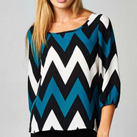 Teal Chevron Top