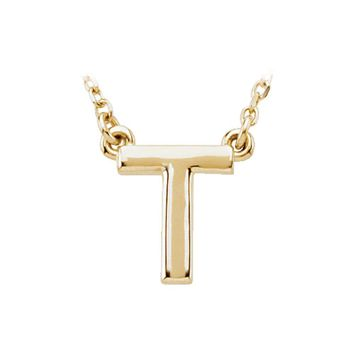14K Yellow Gold, Kendall Collection, Block Initial T Necklace, 16 Inch