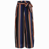 Stylish High Waist Striped Color Block Wide Leg Women's Pant