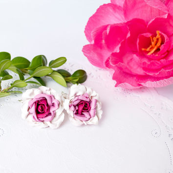 Handmade floral earrings, rose earrings, pink rose earrings, wedding jewelry, gifts