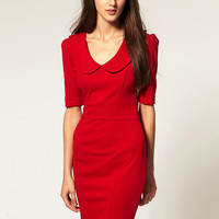 Red Short Sleeve Peter Pan Collar Bodycon Pencil Dress