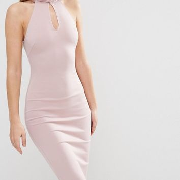 Oh My Love Frill Neck Racer Midi Dress With Keyhole at asos.com