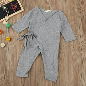 Newborn Infant Baby Girls Boys Wings Lacing Romper Jumpsuit Outfits Clothes