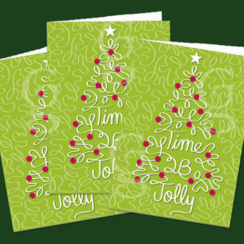 Christmas Card, Jolly Christmas, Christmas Tree, Graphic Design, Greeting Card, w/ Envelope, Modern Graphic Design, Computer Vector Art