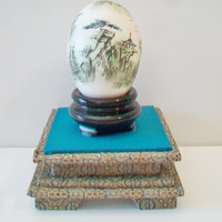 Decorative Asian Egg with Stand Vintage Hand Painted Pagoda Bonsai Tree Collectible Chinese Japanese Home Decor