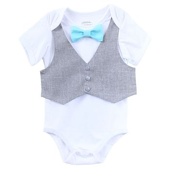 Baby Boy Clothes Grey Vest Bow Tie Cake Smash Outfit Easter Clothes