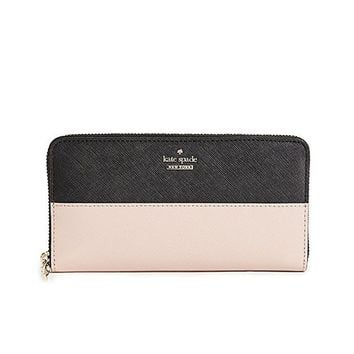 ONETOW Kate Spade New York Women's Cameron Street Lacey Wallet, Black/Toasted Wheat, One Size