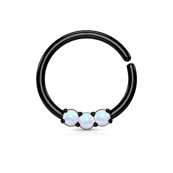 3 Opal Prong Set 316L Surgical Steel Bendable WildKlass Septum/Cartilage Hoop Ring