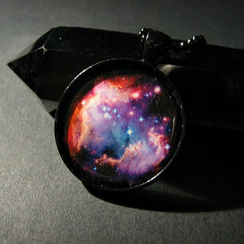 Dark Galaxy Space Planet Vegan Necklace, Boho, Hippie, Cosmos, Nebula, Bohemian, Universe,Black, Choker,  Cosmic, Round, Circle