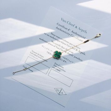 DCCK VCA van cleve arpels natural malachite green clover sterling silver material classic bracelet