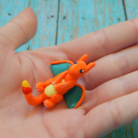 Tiny Charizard Pokemon Inspired Polymer Clay Dragon Sculpture