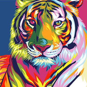 DCCKUN6 Digital Diy oil painting by numbers snow tiger wall decor picture on canvas oil paint coloring by number drawing animals