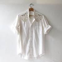 Vintage white cotton shirt. Button front shirt + Crochet shirt detailing. Sheer tshirt. Slouchy tee.