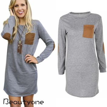 Loose Long Sleeve Cotton Dress