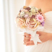 Brooch Bouquet - Custom Medium Bridal Bouquet - Romantic Silk Flowers & Enamel Brooches - Made to Order - Pink, Lavender, Purple, White