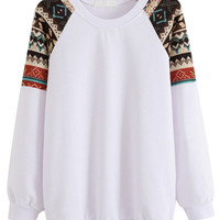 White Geo Printed Shoulder Sweatshirt