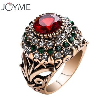 2017 New Luxury Big Natural Crystal Stone Vintage Wedding Ring Antique Rings For Women Gold Color Party Turkish Jewelry