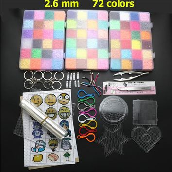 72 Colors 39000pcs EVA 2.6mm Mini Hama Beads Set Toy DIY Perler Beads Pegboard Kit Educational Tangram Puzzle Kids Toys Template