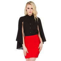 ca PEAPTM4 Women Fall Fashion Chiffon Cape Shirt Tops [9108981383]