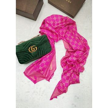 Gucci Fashion Women Easy to match Silk Scarf Rose Red