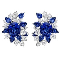 Sapphire Diamond platinum Cluster Earclips