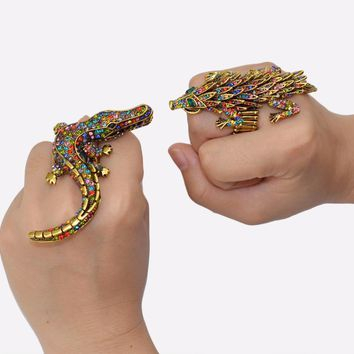 Vintage Exaggerate Colorful Rhinestone Animal Alligator Stretch Ring Punk Crocodile Head Midi Rings For Women Men Bijoux Jewelry