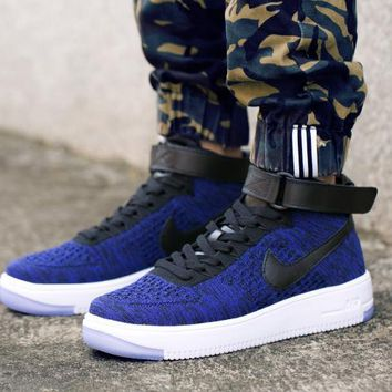 LMFON Nike Air Force 1 Flyknit Mid-High 817420-400 Blue For Women Men Running Sport Casual Shoes Sneakers