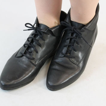 90s LEATHER Black BOOTIES Indie Lace Up Vintage Ankle Boots Shoes | Size 6.5 Womens