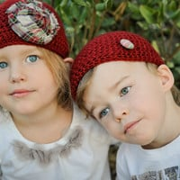 Vegan Crocheted Holiday Beanies for Twins or Siblings With Tartan Details