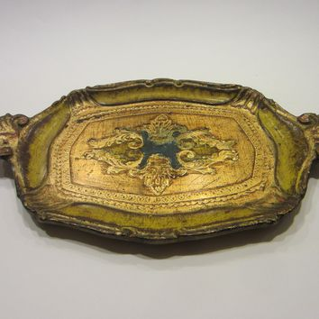 Decorative Italian Tray Gilt Wood Made In Italy Label Marked