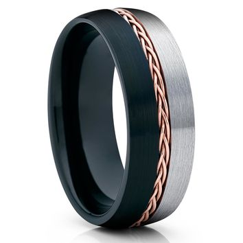 Black Tungsten Wedding Band - Men & Women - Rose Gold Braid - Gray Tungsten Ring