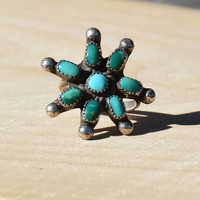 Blossom Star Blue Turquoise Ring // Vintage Native American Blue Turquoise Ring in Sterling Silver, Turquoise Flower Ring