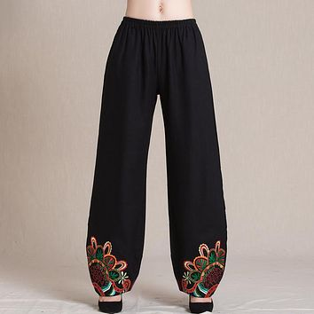 Mexico style ethnic vintage long black red embroidery wide leg pant 2017 female mother mum autumn winter loose trousers