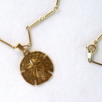 Sand Dollar Gold Tone Necklace