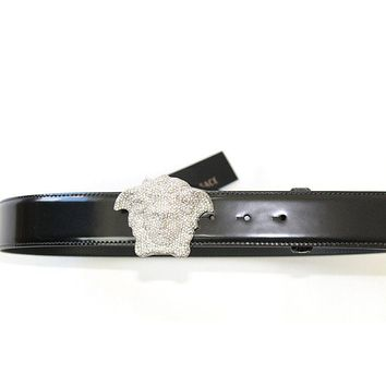 Versace Silver Crystal Medusa Buckle Leather Belt Black Rpp: 1100 ?