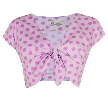 The Polkadot Knot Top - Lilac