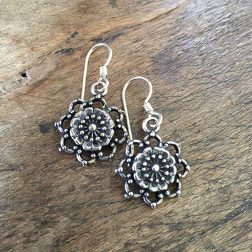Sterling Flower Beach Boho Earrings Bohemian Dangle Earrings by Two Silver Sisters