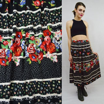 90s High waist Floral Skirt Retro Polka Dot Small Preppy Country Chic Boho Vintage womens Clothing Long Skirt Full Pleated Girly Striped