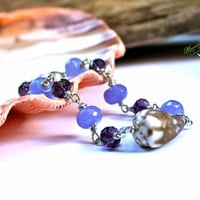 Purple Shell Bracelet from Hawaii by Mermaid Tears, Hawaiian jewelry with cone seashell for beach brides