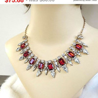 SALE Red and Clear Rhinestone Bib Necklace Vintage Bridal Wedding