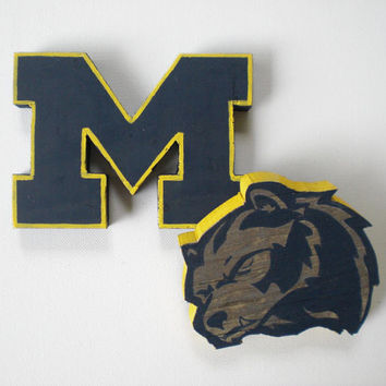 Wooden University of Michigan Wolverines Logo