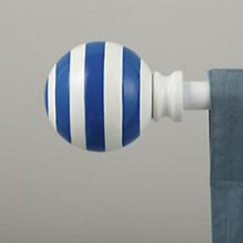 Curtain Accessories: Curtain Rod Striped Blue Ball Finials in Curtains & Hardwares | The Land of Nod