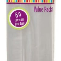 Darice 28-003V 4-Inch-by- 9-Inch Clear Treat Bag 60-Piece Value Pack