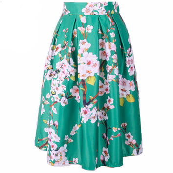 Face N Face Women Vintage Peach Blossom Floral Print Ball Gown Pleated Midi Skater Skirt New 2016 Autumn Winter High Waist Skirt