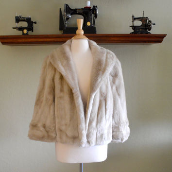 Vintage Faux Fur Capelet, Tissavel of France Shawl or Shrug, Creamy Tan Color, Bridal Cape, circa 1960s