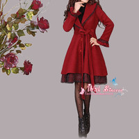 New Design wine red woolen coat woolen cashmere dress coat wool dress winter  thick coat woolen blouse windbeaker parkas trench coat C019