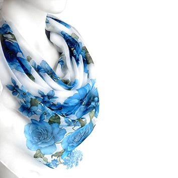 BUY ANY 3 GET 1 OF THEM FREE, large cotton scarf, gift for girlfriend, large square scarf, white summer scarf, light soft scarf, flowers scarf, blue shawl, blanket scarf