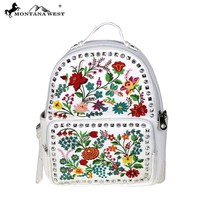 MW493-9110 Montana West Embroidered Backpack-White