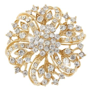 Bella Fashion Clear Flower Droplet Rhinestone Brooch Pins Austrian Crystal Brooches For Wedding Women Party Jewelry Gift